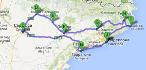 маршрут нашего путешествия по Испании