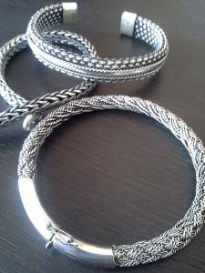 скобка на серебряном браслете из Индонезии -серебро с Бали