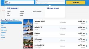 Направления из Гданьска в Европу